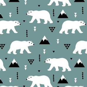 Cute polar bear blue gray winter mountain geometric triangle print