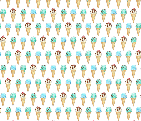 Mint Ice Cream Cones - 2 inch fabric by hazel_fisher_creations on Spoonflower - custom fabric