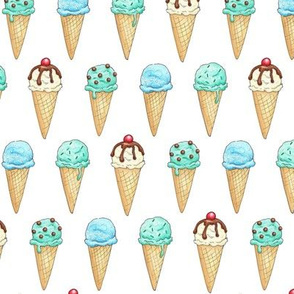 Mint Ice Cream Cones - 2 inch