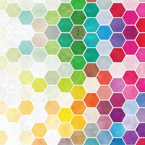 Watercolor Rainbow Hexagons