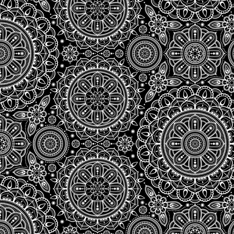 white_on_black_Mandalas_small fabric by woodmouse&bobbit on Spoonflower - custom fabric