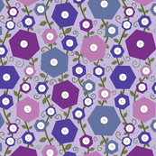 Hexie Flowers with button centers