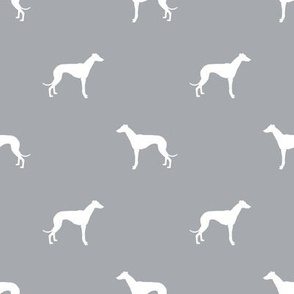 Whippet silhouette dog fabric pattern grey