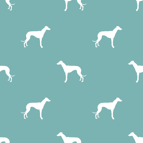 Whippet silhouette dog fabric pattern gulf blue fabric by petfriendly on Spoonflower - custom fabric