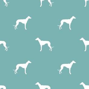 Whippet silhouette dog fabric pattern gulf blue