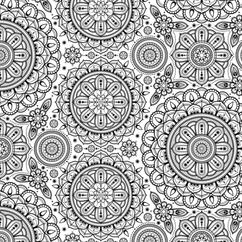 black_on_white_Mandalas_small fabric by woodmouse&bobbit on Spoonflower - custom fabric
