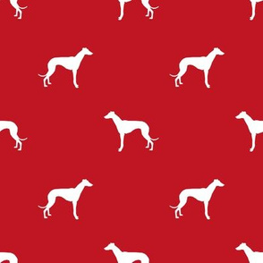 Whippet silhouette dog fabric pattern red