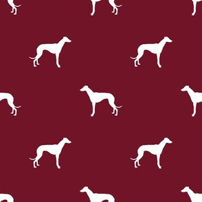 Whippet silhouette dog fabric pattern ruby