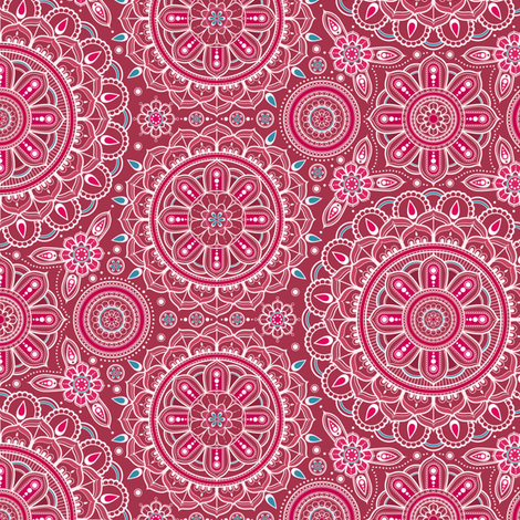 Red + Aqua Mandalas small fabric by woodmouse&bobbit on Spoonflower - custom fabric