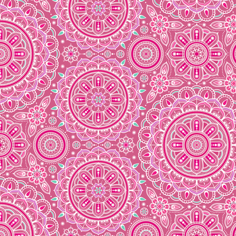 Pink Mandalas small fabric by woodmouse&bobbit on Spoonflower - custom fabric