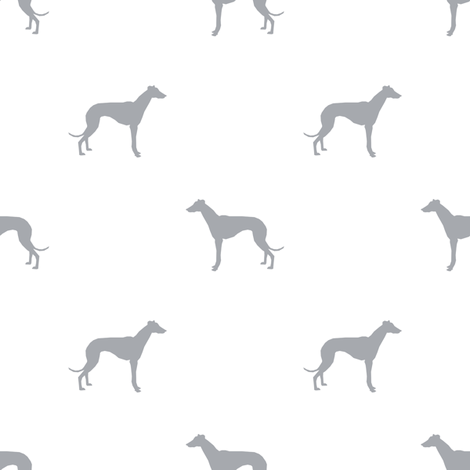 Whippet silhouette dog fabric pattern white grey fabric by petfriendly on Spoonflower - custom fabric