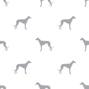 Whippet silhouette dog fabric pattern white grey