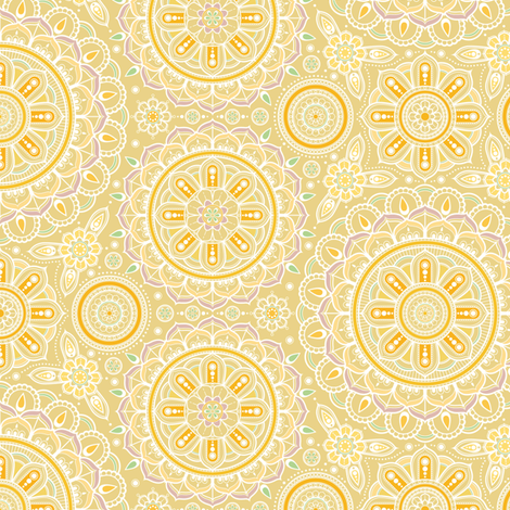 Yellow_Mandalas_small fabric by woodmouse&bobbit on Spoonflower - custom fabric