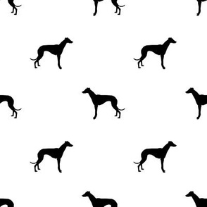 Whippet silhouette dog fabric pattern white