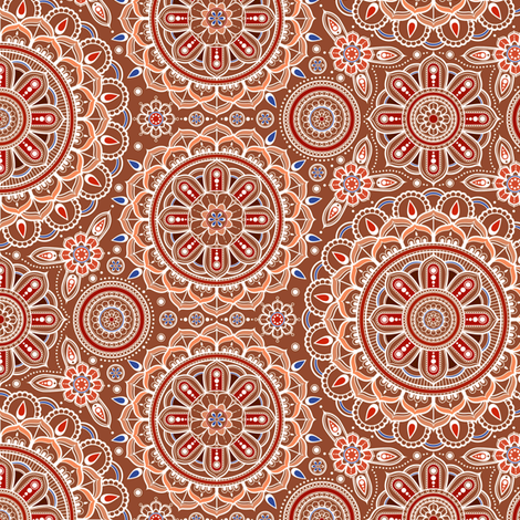 Brown_Mandalas_small fabric by woodmouse&bobbit on Spoonflower - custom fabric