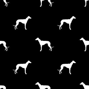 Whippet silhouette dog fabric pattern black