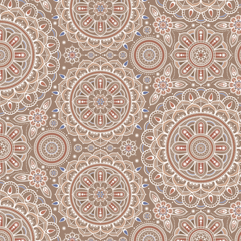 Beige_Mandalas_small fabric by woodmouse&bobbit on Spoonflower - custom fabric