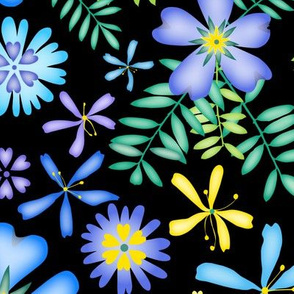 blossoms_of_blue_and_yellow_on_black