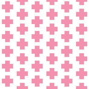 Flamingo Pink Cross on White - Pink Plus Sign