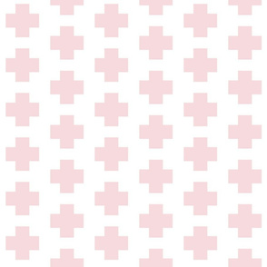 Pale Pink Cross on White - Pink Plus Signs