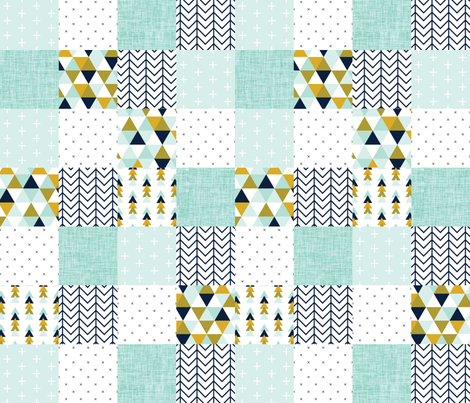 aqua adventurer patchwork wholecloth fabric by ivieclothco on Spoonflower - custom fabric