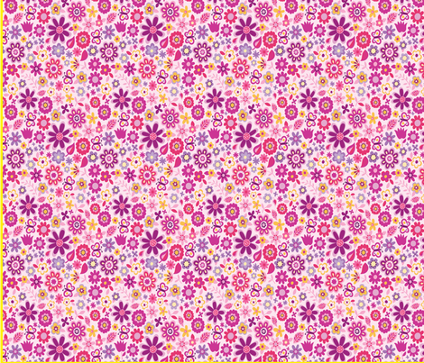 ExtrafabricPrincess-1color_pinkflowers fabric by quilterkimie on Spoonflower - custom fabric