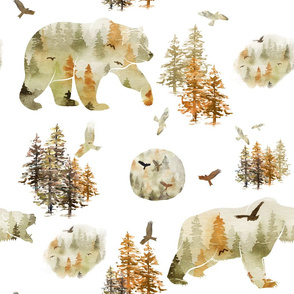 watercolor fall grizzly bear