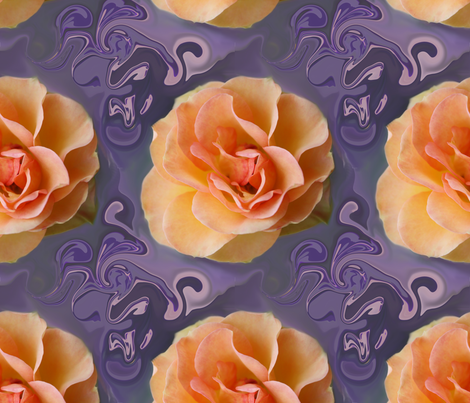 Apricot Rose on Bluish Lavender Swirls, XL fabric by maryyx on Spoonflower - custom fabric