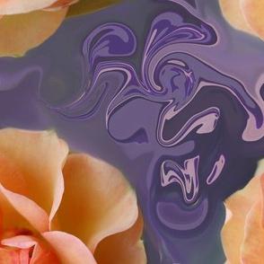 Apricot Rose on Bluish Lavender Swirls, XL