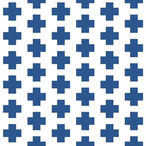 Lapis Blue Cross on White - Blue Plus Signs