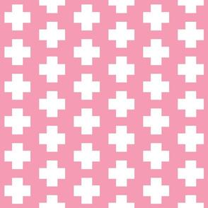 White Cross on Flamingo Pink - White Plus Signs