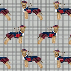 welsh terrier dog fabric tartan bagpipers