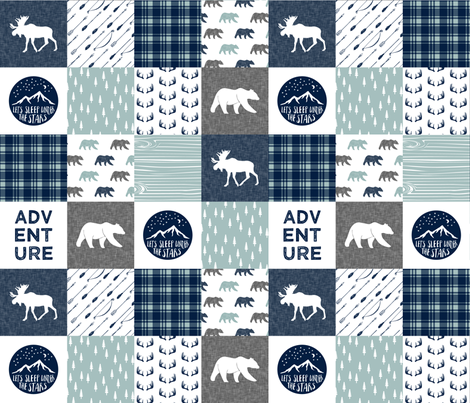 the happy camper (bear, moose, and antlers)  || dusty blue and navy fabric by littlearrowdesign on Spoonflower - custom fabric