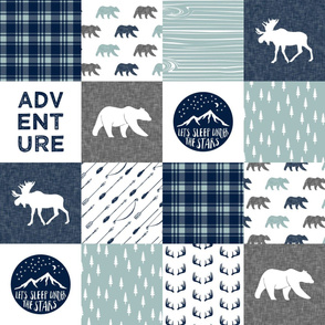 the happy camper (bear, moose, and antlers)  || dusty blue and navy