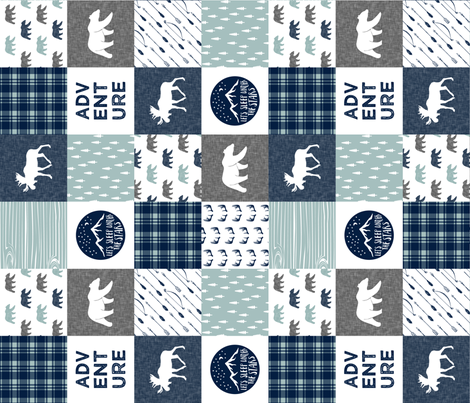 the happy camper (bear, moose, and antlers) 90 || dusty blue and navy fabric by littlearrowdesign on Spoonflower - custom fabric