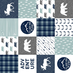 the happy camper (bear, moose, and antlers) 90 || dusty blue and navy
