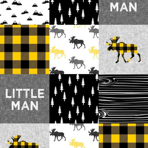 "5"" scale - Little Man Custom Yellow Patchwork Woodland fabric"