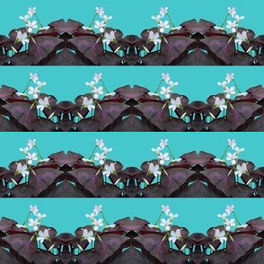 Oxalis Stripes - Horizontal - Purple on Aqua