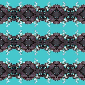Oxalis Lace Stripes - Horizontal - Purple on Aqua