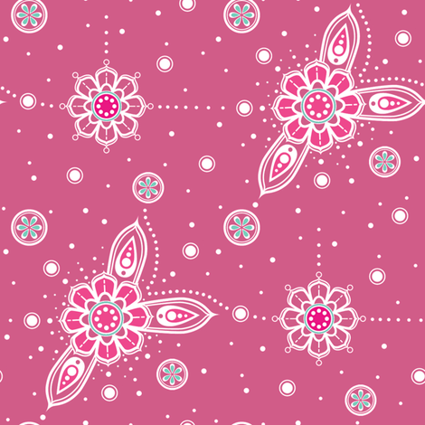 Pink Mandala Accents fabric by woodmouse&bobbit on Spoonflower - custom fabric