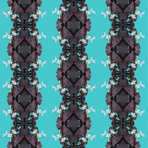 Oxalis Lace Stripes in Purple on Aqua - half drop