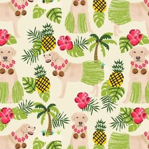 yellow lab hula fabric summer tropical labrador design - cream