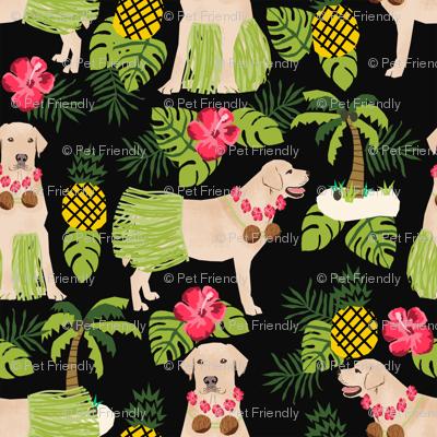 yellow lab hula fabric summer tropical labrador design - black