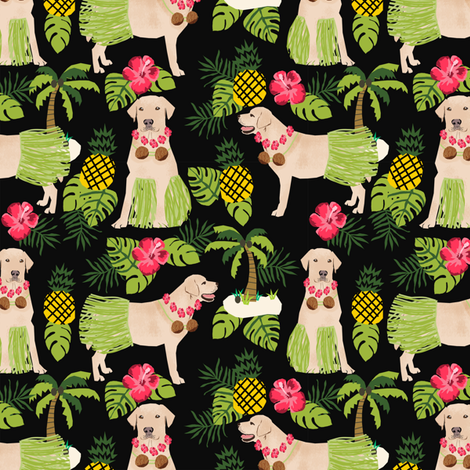 yellow lab hula fabric summer tropical labrador design - black fabric by petfriendly on Spoonflower - custom fabric