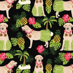 yellow lab hula fabric summer tropical labrador design - black