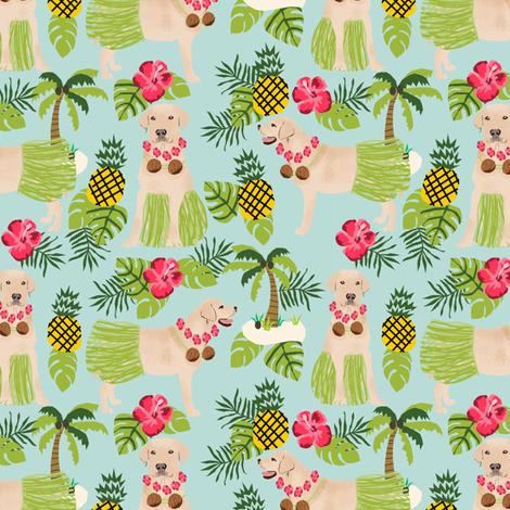yellow lab hula fabric summer tropical labrador design - light blue fabric by petfriendly on Spoonflower - custom fabric