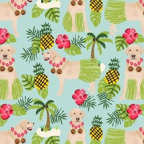 yellow lab hula fabric summer tropical labrador design - light blue