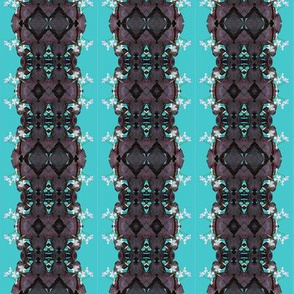 Oxalis Lace Stripes in Purple on Aqua