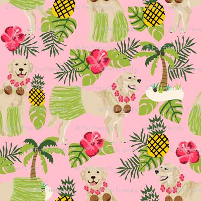 golden retriever dog hula fabric summer tropical design - blossom pink