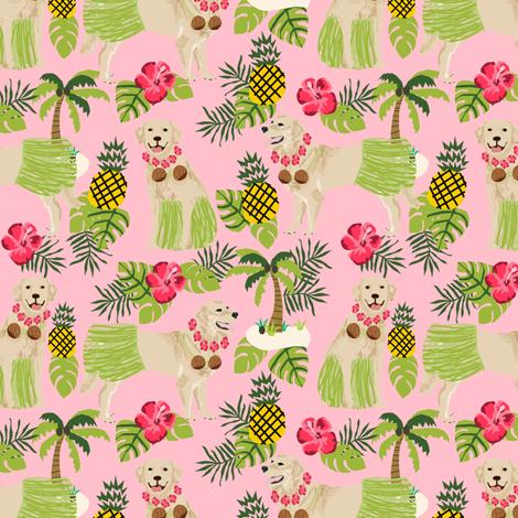 golden retriever dog hula fabric summer tropical design - blossom pink fabric by petfriendly on Spoonflower - custom fabric